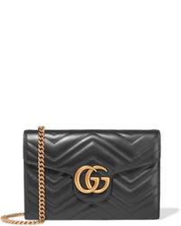 Pochette en cuir matelassée noire Gucci