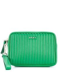 Pochette en cuir matelassée verte DKNY