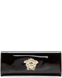 Pochette en cuir noir et doré Versace