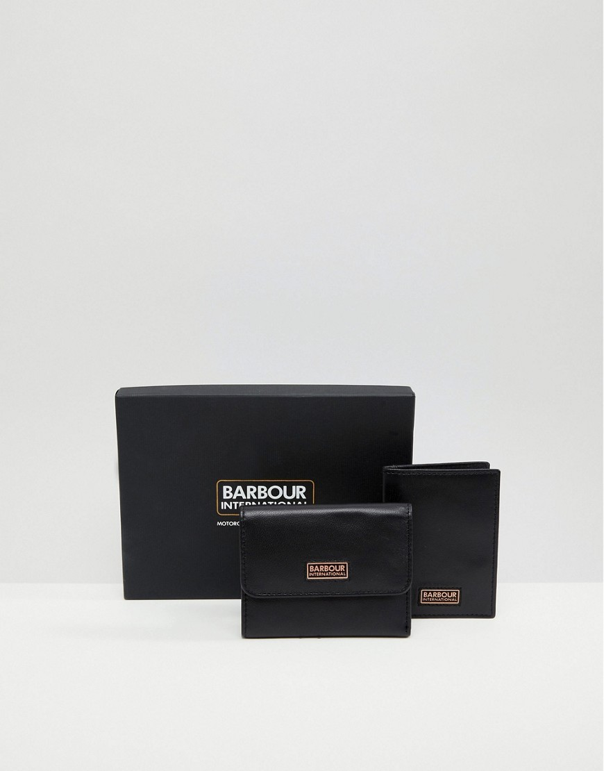 Pochette en cuir noire Barbour