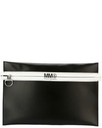 Pochette en cuir noire MM6 MAISON MARGIELA