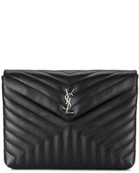 Pochette en cuir noire Saint Laurent