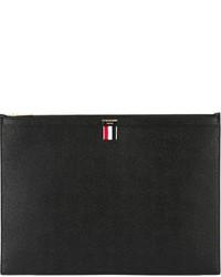 Pochette en cuir noire Thom Browne