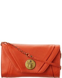 Pochette en cuir orange