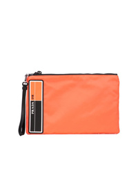 Pochette en cuir orange Prada