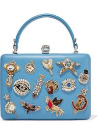 Pochette en cuir ornée bleu clair Alexander McQueen