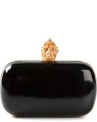 Pochette en cuir ornée noire et dorée Alexander McQueen