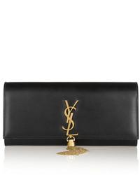Pochette en cuir ornée noire et dorée Saint Laurent