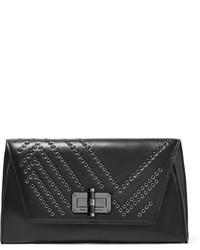 Pochette en cuir ornée noire Diane von Furstenberg