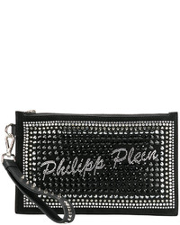 Pochette en cuir ornée noire Philipp Plein