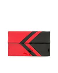 Pochette en cuir rouge et noir Tomasini