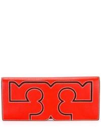 Pochette en cuir rouge Tory Burch