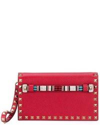 Pochette en cuir rouge Valentino
