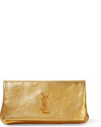 Pochette en cuir texturée dorée Saint Laurent