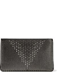Pochette en cuir texturée noire