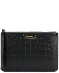 Pochette en cuir texturée noire Emporio Armani