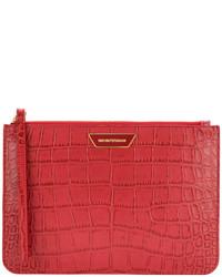 Pochette en cuir texturée rouge Emporio Armani