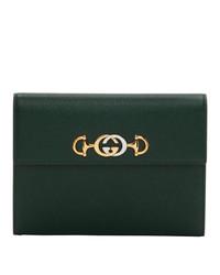 Pochette en cuir vert foncé Gucci