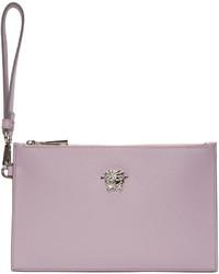 Pochette en cuir violet clair Versace