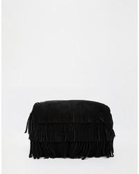 Pochette en daim à franges noire Asos