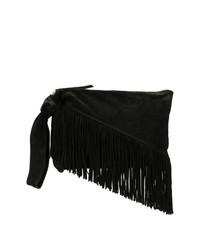 Pochette en daim à franges noire Isabel Marant