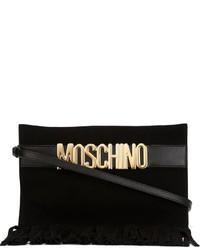 Pochette en daim à franges noire Moschino