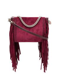 Pochette en daim à franges pourpre foncé Givenchy