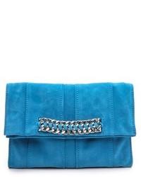 Pochette en daim bleue