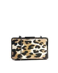Pochette en daim imprimée léopard beige