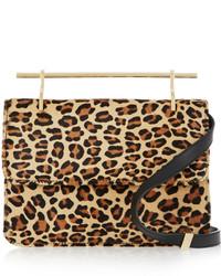 Pochette en daim imprimée léopard beige M2Malletier