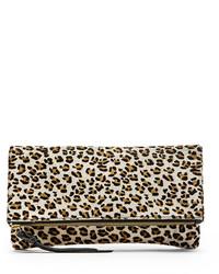 Pochette en daim imprimée léopard blanche