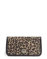 Pochette en daim imprimée léopard brune