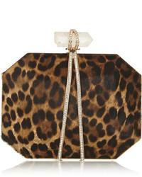 Pochette en daim imprimée léopard brune Marchesa