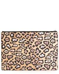 Pochette en daim imprimée léopard marron clair Givenchy