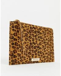 Pochette en daim imprimée léopard marron clair Miss KG
