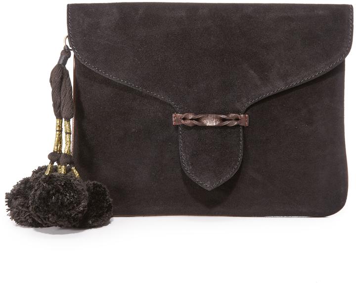 Pochette en daim noire Antik Batik