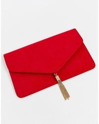 Pochette en daim rouge ASOS DESIGN