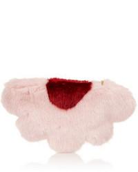 Pochette en fourrure rose