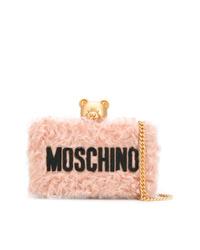 Pochette en fourrure rose Moschino