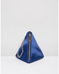 Pochette en satin bleue Asos