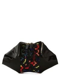 Pochette en soie brodée noire Alexander McQueen
