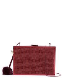 Pochette en soie tressée rouge Monique Lhuillier