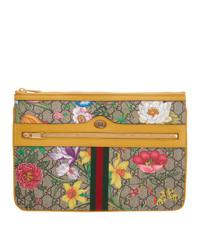 Pochette en toile à fleurs multicolore Gucci