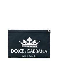 Pochette en toile bleu marine Dolce & Gabbana