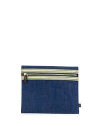 Pochette en toile bleu marine Lardini