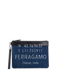 Pochette en toile bleu marine Salvatore Ferragamo