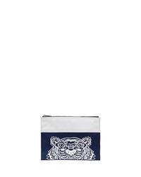 Pochette en toile brodée bleu marine Kenzo