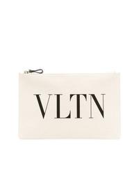 Pochette en toile imprimée blanche Valentino