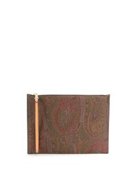 Pochette en toile imprimée cachemire marron Etro