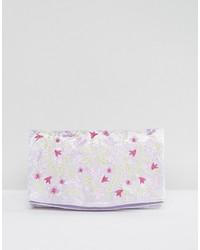 Pochette en velours brodée violet clair Asos